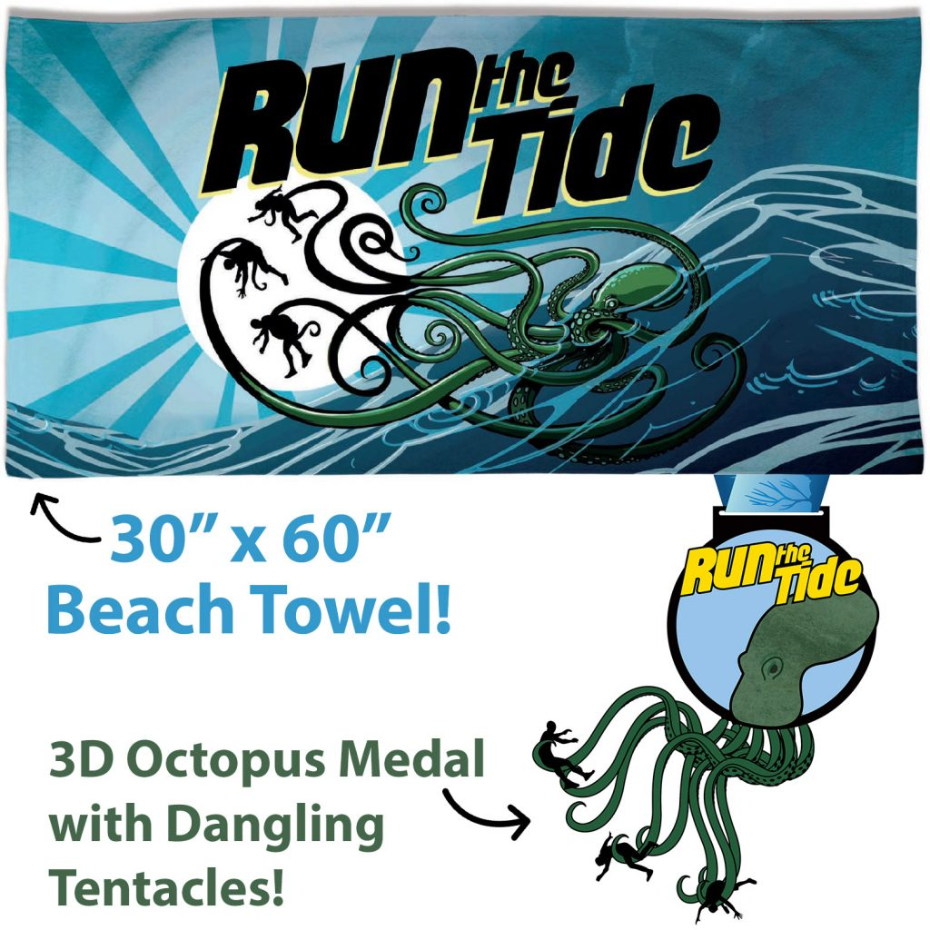 Run the Tide Race Towel and Medal
